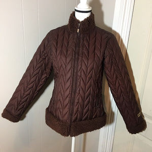 Patagonia Brown Quilted Zip Front Coat